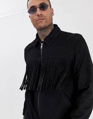 Asos Design DESIGN suede zip through jacket with tassels in black