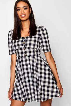 boohoo Button Front Check Puff Sleeve Skater Dress
