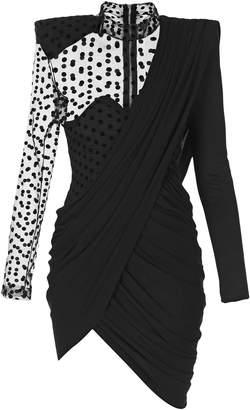 Balmain Asymmetric Draped Crepe And Swiss-Dot Tulle Mini Dress Size: 4