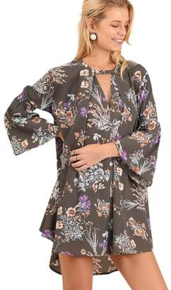 Umgee USA Boho Floral Print Hippie Dress Tunic Keyhole Neckline Bell Sleeves