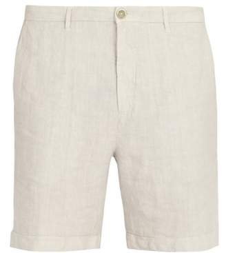 120% Lino Straight Leg Linen Shorts - Mens - Light Grey