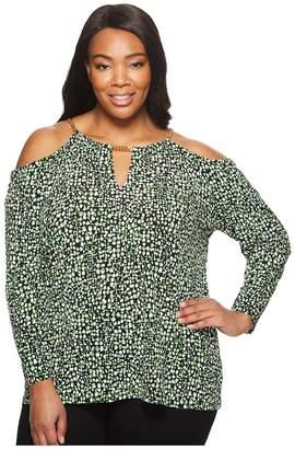 MICHAEL Michael Kors Size Reptile Chain Halter Long Sleeve Top Women's Clothing