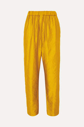 Dries Van Noten Pearl Metallic Faille Straight-leg Pants - Mustard