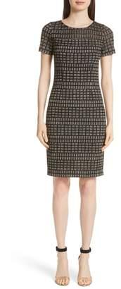 St. John Shimmer Rectangle Jacquard Knit Dress