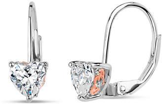 Swarovski FINE JEWELRY Sterling Silver Two-Tone Heart Leverback Earrings featuring Zirconia