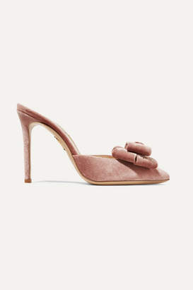 Charlotte Olympia Stupendous Bow-embellished Velvet Mules - Pink