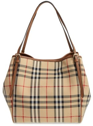 Burberry Small Canter Check & Leather Tote - Beige $895 thestylecure.com