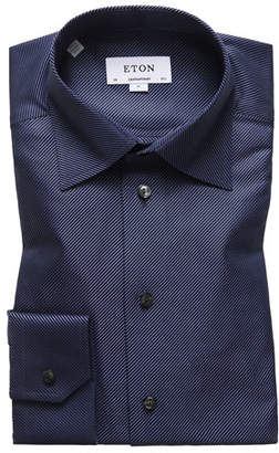 Eton Men's Contemporary-Fit Diagonal Stripe Dress Shirt