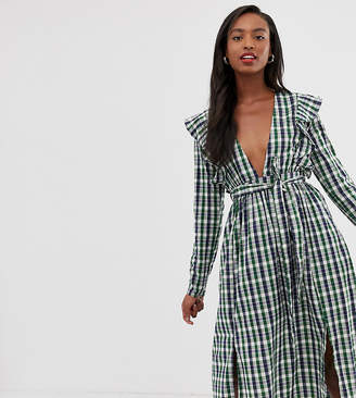 Glamorous Tall midi dress with ruffle shoulders in gingham e2af7e442