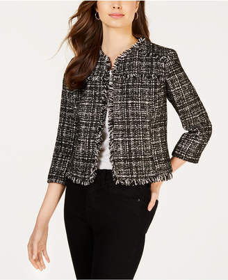 Nine West Tweed Fringe Flyaway Blazer