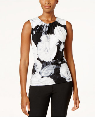 Calvin Klein Floral-Print Pleat-Neck Top $39 thestylecure.com