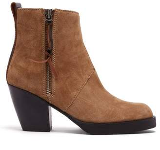 Acne Studios Western Style Suede Ankle Boots - Womens - Light Tan