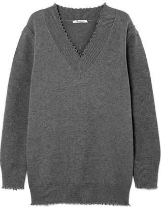 Alexander Wang Distressed Cotton-blend Sweater - Gray