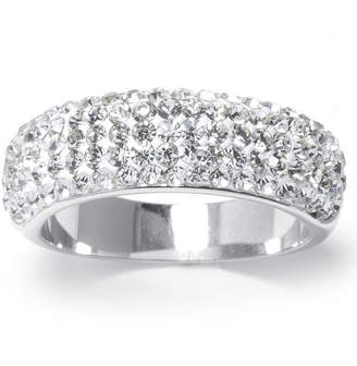 SPARKLE ALLURE Crystal Pav Silver-Plated Brass Band Ring
