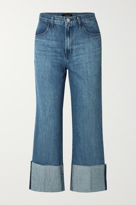 J Brand Joan Cropped High-rise Flared Jeans - Mid denim