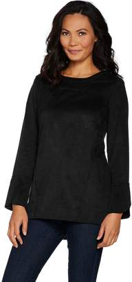 Denim & Co. Studio by Stretch Faux Suede Bell Sleeve Tunic