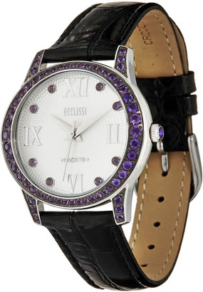 Ecclissi Facets Stainless Gemstone & Leather Watch, 1.50 cttw