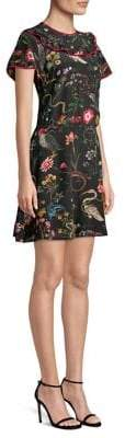 RED Valentino Flora and Fauna Crepe De Chine Dress