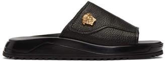 Versace Black Leather Medusa Slides