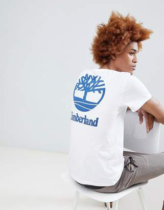 Timberland Stacked Back Print Logo T-Shirt in White