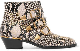 Chloé Susanna Studded Snake-effect Leather Ankle Boots