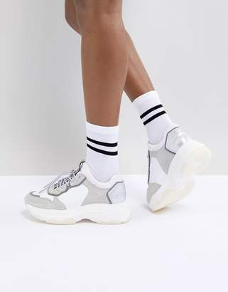 Bronx White & Grey Suede Chunky Sneakers