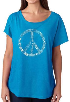 LOS ANGELES POP ART Los Angeles Pop Art Women's Loose Fit Dolman Cut Word Art Shirt - PEACE