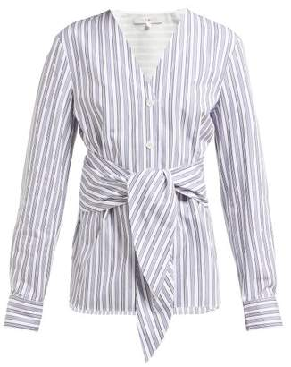 Tibi Liam Tie Waist Striped Cotton Shirt - Womens - Light Blue