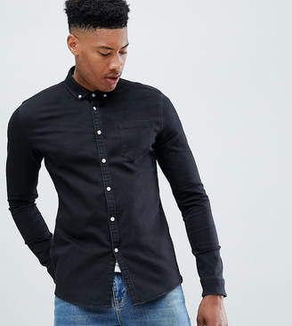 3527d30f02 Asos Design DESIGN Tall stretch slim denim shirt in black