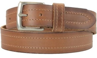 Montauk Leather Club 1-1/2 in. US Steer Hide Leather Double Stitch Men's Belt w/ Antq. Nickel Buckle