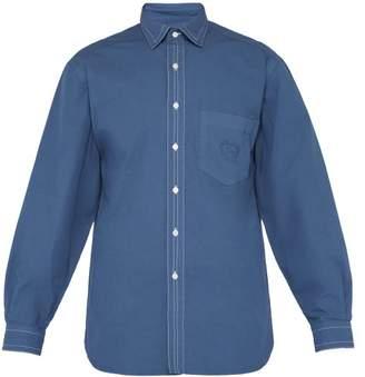 Burberry Crest Logo Cotton Poplin Shirt - Mens - Blue