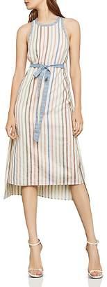 BCBGMAXAZRIA Striped Tie-Waist Midi Dress