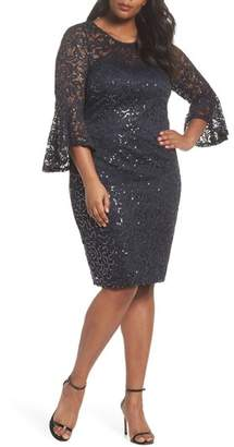 Marina Sequin Lace Bell Sleeve Dress