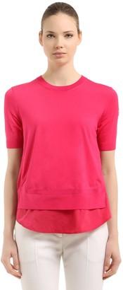 Moncler Nylon & Cotton Tricot Knit Sweater