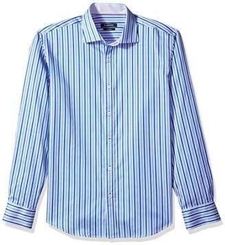 Bugatchi Men's Long Sleeve Shaped Fit Hidden Button Collar Sport Shirt