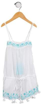 Melissa Odabash Girls' Embroidered Sleeveless Romper w/ Tags