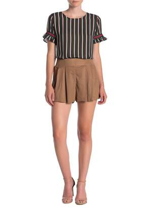 SWEET RAIN Pleated Pull-On Faux Suede Shorts