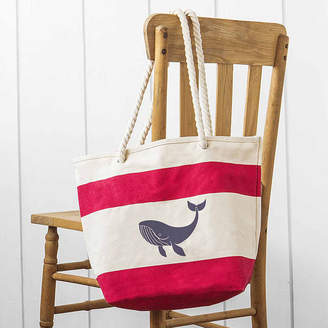Cathy's Concepts CATHYS CONCEPTS Whale Red Striped Canvas Tote with Rope Handles