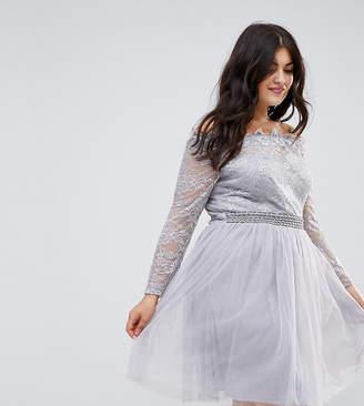 Little Mistress Plus Lace Bardot Skater Dress With Tulle Skirt