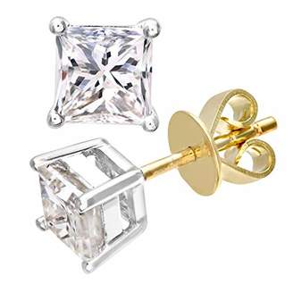 cbe3fc672 Naava Women's 18 ct Yellow Gold Stud Earrings, J/I Certified Diamonds,  Princess