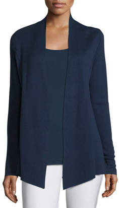 Eileen Fisher Silk Organic Cotton Open Cardigan, Midnight