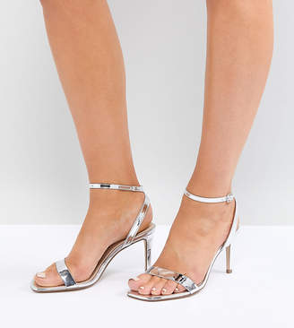 22343e914197dd Barely There Asos Design ASOS DESIGN Wide Fit Half Time heeled sandals
