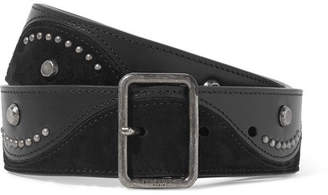 Saint Laurent Studded Suede And Leather Waist Belt - Black