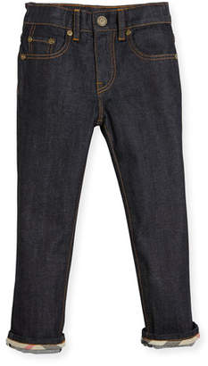Burberry Faded Slim-Fit Stretch Jeans, Dark Indigo, Size 4-14
