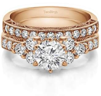 TwoBirch 2 Ring Bridal SET:Engagement ring with Diamonds (G,I2) and Moissanite Center in 10k Rose Gold(2.04tw)