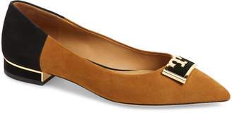 Tory Burch Gigi T Logo Pointy Toe Flat