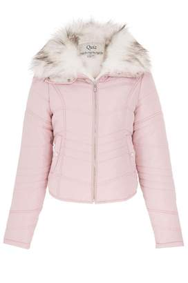 Quiz Pink Quilted White Faux Fur Collar Jacket