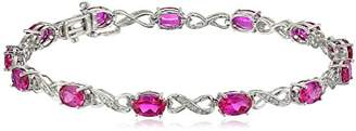 Sterling Created Blue Sapphire and Diamond Infinity Bracelet (1/10 cttw