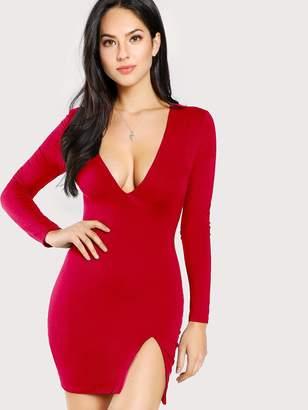 bdca1e7b61a8 Shein Side Slit Plunge Bodycon Dress