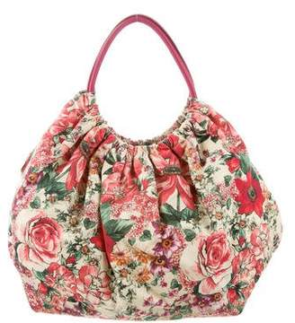 RED Valentino Floral Canvas Hobo